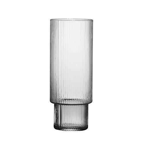 Rcsinway Simplicity Vidrio de Rayas Creativo Coctel de Copa de Vidrio Estilo japonés Copa de Cerveza Mojito Whisky Set de Vino Conjunto de hogar Tabho Webware Gafas de Fiesta (Color : Cup A 370ml)