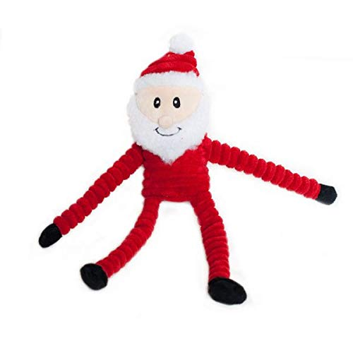 ZippyPaws - Holiday Crinkle Squeaky Plush Dog Toy Filled with Crinkle Paper and Stuffing - Small, Santa