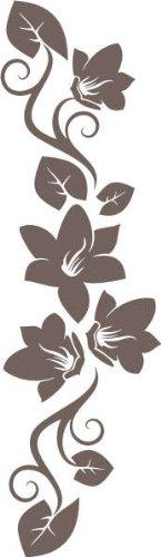 INDIGOS UG - Wandtattoo Wandsticker Wandaufkleber Aufkleber f269 wunderschöne Ranke mit hübschen Blumen 80x23 cm - braun
