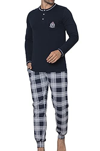 LOREZA ® Conjunto de Pijamas de Hombre Bata de algodón de Noche de Manga Larga - 4XL - M-93906