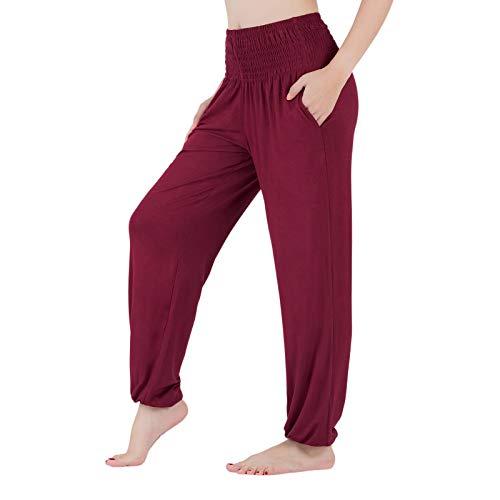 Lofbaz Pantalones de Yoga para Mujer Pantalones Deportivos de Cintura Alta Jogger Pijamas de Maternidad Legging Ropa para Mujer Rojo Oscuro S