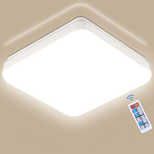 LED Deckenleuchte mit Bewegungsmelder, Oeegoo 18W 1400LM Deckenlampe mit Fernbedienung, IP54 Wasserfest Sensorleuchte, 360° Sensor Automatikleuchte, Badezimmerlampe, Mikrowelle-Bewegungssensor, 4000K