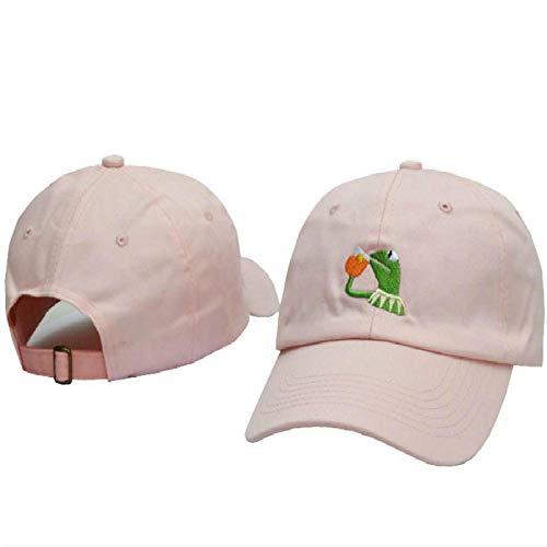 QIANWEIXI Baseball Cap Herren Rosa Gestickter Bier-Vati-Hut Für Frauen Kermit Keiner Meiner Geschäfts-Baseballmütze-Hip Hop-Baumwolle Justierbare Traurige Vati-Hut-Männer