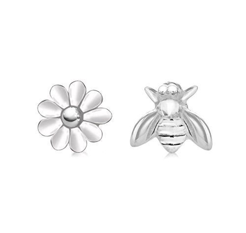 Tuscany Silver Sterling Silver 6.2 x 7.4 mm Bee and 7.8 mm Flower Stud Earrings