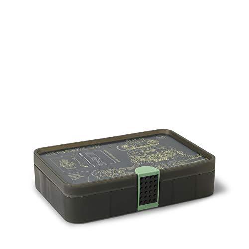 Room Copenhagen 4084 Caja de Almacenamiento, Contenedor con Compartimentos, Verde translúcido, Lego Ninjago Movie, Sand Green, 26.7 x 17.8 x 6.6 cm