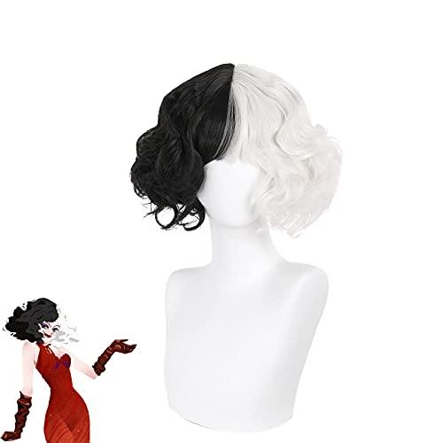 Pelucas de mujer en blanco y negro para Cruella de Vil Cosplay, corto Bob ondulado resistente al calor Pelos de juego de rol sintético para Halloween Navidad Carnaval fiesta (con flequillo)