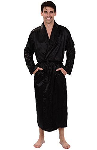 Alexander Del Rossa Men's Lightweight Satin Robe, Long Kimono, Large Black (A0720BLKLG)