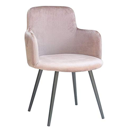 Silla de Comedor de Arte de Hierro nórdico, sillón de Terciopelo con Patas de Metal Negro/Respaldo Ancho, (Color de café) | Código de Productos: LJW-270