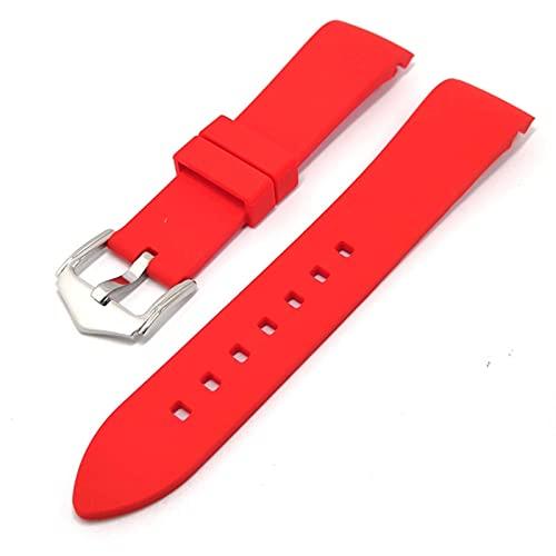 FETTR 18 mm, 20 mm, 22 mm, 19 mm, 21 mm, 24 mm, silicona suave, universal, codo curvado, correa deportiva (color: rojo, tamaño: 21 mm)