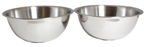 3-Quart Heavy-Duty Deep Stainless Steel Flat Base Mixing Bowl (2) by Winco