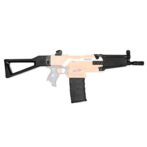 Blasterparts - Mod Upgrade Kit für NERF Stryfe SMG-Kit 1: MP5 - schwarz - mit Laufverlängerung, Schulterstütze, 12 Dart Clip Magazin