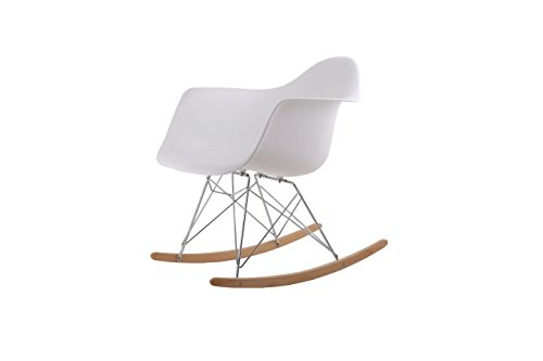 HNNHOME Lounge Retro Rocker Rocking Chair Leisure Armchair White