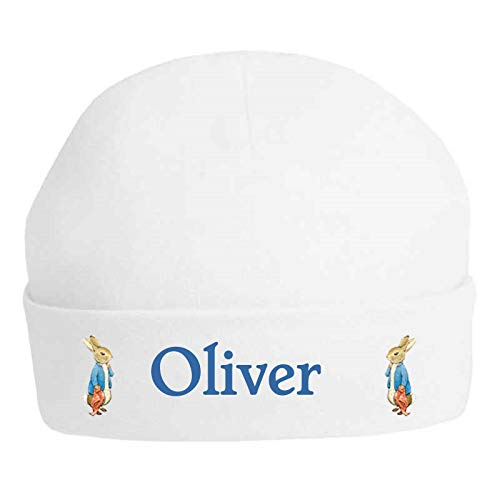 Boys Peter Rabbit & Blanket Personalised Printed 100% Double Layered Cotton Baby Hat – Printed with the name of your choice (Max 13 Letters) Available in sizes 0-3, 3-6 and 6-12 Months (0-3 Months)