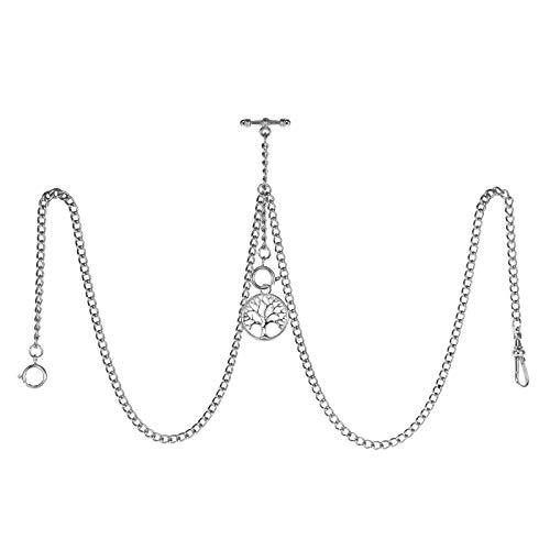 TREEWETO Reloj de bolsillo doble Albert con cadena de eslabones para hombre, 3 ganchos con colgante de hoja de plata envejecida, diseño de dije en T