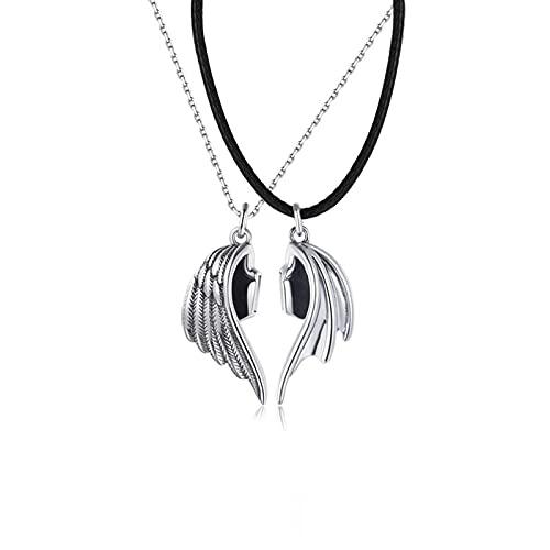 QDGERWGY Collar de Pareja de 2 Piezas, Collares con Colgante de Amor Infinito, Cadena de Cuero, Regalos de Amistad para Mujeres y Hombres