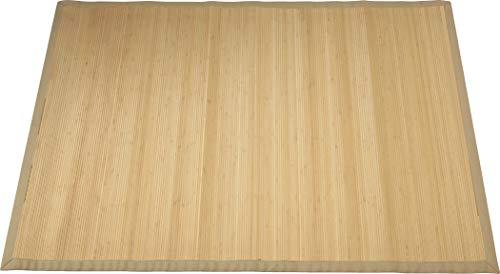 Rutschfester Bambusteppich, Wasserabweisende Bambusmatte, Holzteppich aus Bambus für Küche, Flur & Wohnzimmer in Naturoptik und Dunkelbraun (Natur, 70 x 120 cm)