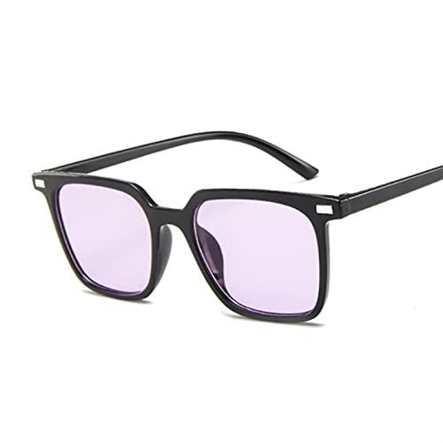 TUEWDFSA Gafas de Sol Gafas de Sol Negras para Las Mujeres diseñador de la Marca Moda Remache Barato Vintage Gafas de Sol Sqaure Gafas de Sol Retro Hembra Gafas Planas Producto al Aire Libre