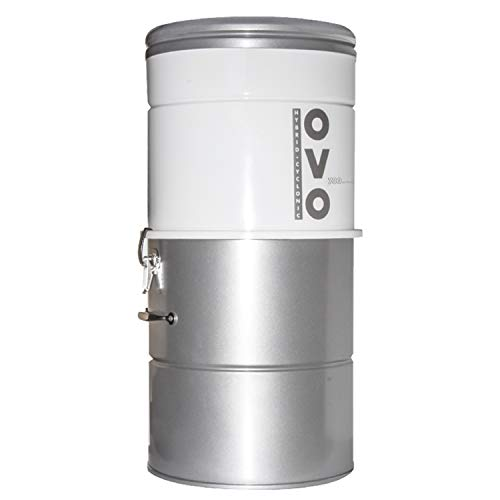 OVO Large and Powerful Central Vacuum System, Hybrid Filtration (with or Without Disposable Bags) 25L or 6.6 Gal, 700 Air watts, White and Silver
