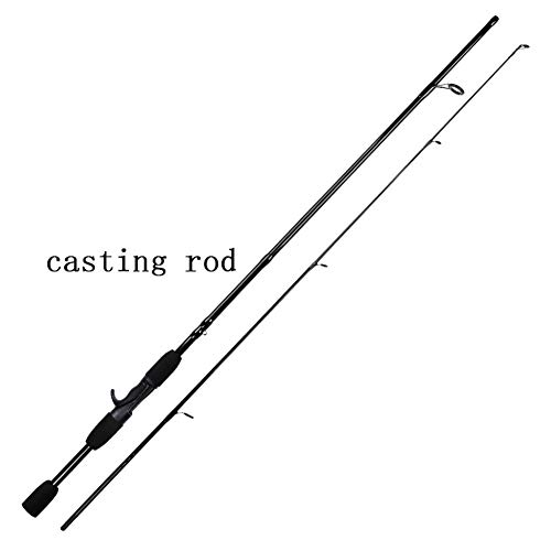 Schwarz 1.8M / 2.1M Spinnrute-Test 4-21g M Power Eva Griff Carbon-Faser-Casting-Köder Angelrute Spinn (Color : Black, Length : 1.8 m)