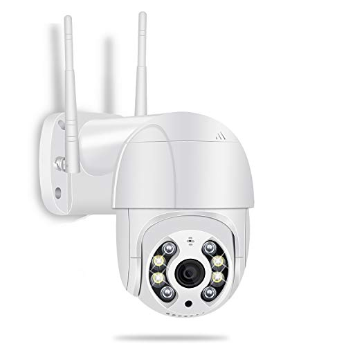 Outdoor Security Camera, Pan Tilt Dome Surveillance Camera, 1080P WiFi IP Camera, Two Way Audio Motion Detection 65ft Night Vision Onvif Waterproof CCTV Camera Support Max 128G TF Card