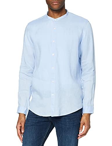 find. Camisa de Lino de Manga Larga Hombre, Azul (Sky), L, Label: L