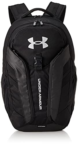 Under Armour Adult Hustle Pro Backpack , Black (001)/Metallic Silver , One Size Fits All