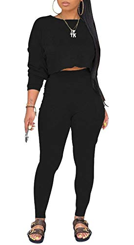 Two Piece Outfits for Women - Sweater Tracksuit Long Sleeve Sweatshirt and Sweatpants Set Sports Romper Black