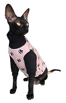Kotomoda Sphynx Chandail d'hiver pour chat Rose HappyPaws Nu Cat Vêtements pour chat (XS)