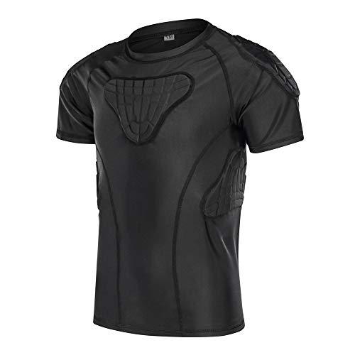 DGYAO Jungen Sports Schutz gepolsterte Strumpfhose T-Shirt Shorts Schulter Rippe Brust Hüfte Protector Anzug für Fußball Rugby Basketball Skifahren Snowboard Skaten (T-Shirt, YXL)