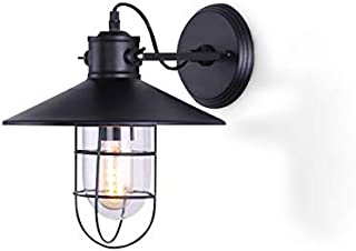 Hyperikon Wall Light Sconce, One Light and Cage, Industrial Sconce Lighting Fixture, Black, E26, Hardwired Lamp (Hamilton)