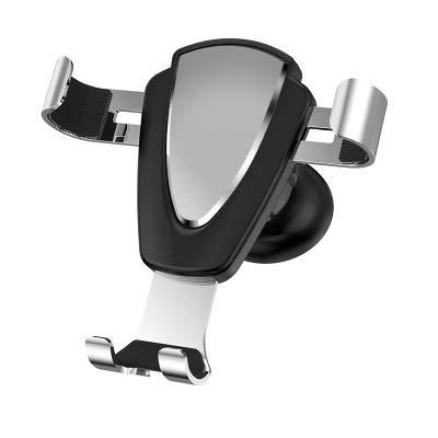 Aishtec Soporte para smartphone para coche, soporte de gravedad de aluminio, soporte para teléfono móvil de coche – Compatible con todo el smartphone (plata)