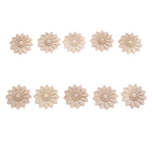MUXSAM - Lote de 10 adhesivos de madera esculpida para decoración de muebles (5 cm)