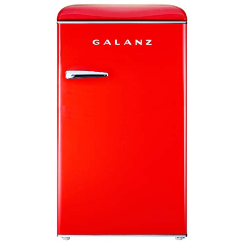 Galanz GLR35RDER Retro Compact Refrigerator, Single Door Fridge Adjustable Mechanical Thermostat with Chiller, 2 Removable Glass Shelf, 1 Crystal Crisper, 1 Power Cord, Red, 3.5 Cu Ft