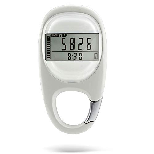 APROTII White Accurate Walking Distance 3D Fitness Pedometer Induction Exercise Portable Digital Multi-function Step Counting Silent Calorie
