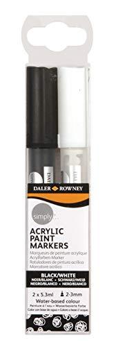 Simply Daler Rowney Lot de 2 marqueurs peinture acrylique Noir et blanc 5,3 ml