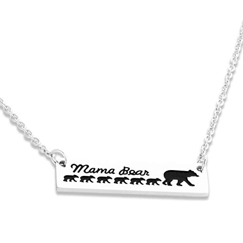 Mommy Bear Necklace 6 Bears Necklace,Mom Bear Necklace Bear Family Necklace with 6 Cubs Mama Bear Necklaces for Women, Christmas Jewelry Gifts Upgraded Version