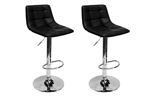 Best Master Furniture Hayden Modern Adjustable Height Bar Stool, Set of 2, Black
