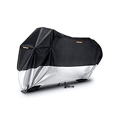 JUSTTOP Motorcycle Cover, All Season Waterproof Outdoor Protection, 210D Oxford Cloth and Tear Proof, fits for 96.5 Inch Motorcycles like Honda, Yamaha, Suzuki, Harley and More (Black and Silver) by JUSTTOP