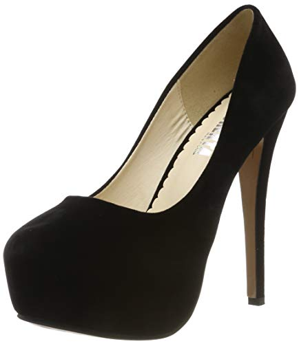 OCHENTA - Zapatos de tacón alto con punta redonda y plataforma oculta para mujer., color Negro, talla 43.5 EU