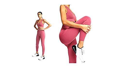 Conjunto elástico de Ropa deportiva fitness para mujer. 2 piezas Sujetador + Leggings deportivos sin costuras (M, Rosa) 🔥