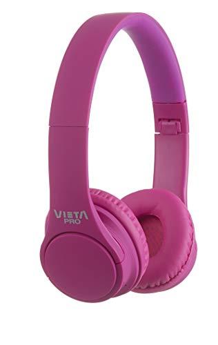 Vieta Pro Wave – Auriculares inalámbricos (Bluetooth, radio FM, micrófono integrado, entrada Auxiliar, reproductor Micro SD, plegables, autonomía 12 horas) rosa