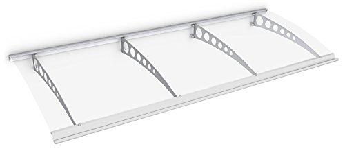 Schulte Vordach Haustür Überdachung 240x90 cm Stahl weiß rostfrei Polycarbonat durchgehend transparent Pultvordach Style Plus