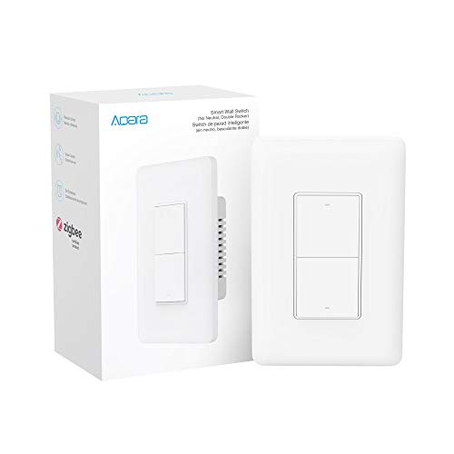 Aqara Smart Light Switch (No Neutral, Double Rocker), Requires AQARA HUB, Zigbee Switch, Remote Control and Set Timer for Home Automation, Compatible with Alexa, Apple HomeKit, Google Assistant