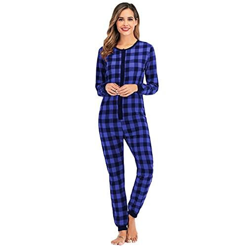 Women Onesie Pajamas Plaid Print Jumpsuit One Piece Romper Playsuit Sleepwear Cosplay Costume Loungewear Bodysuit(Blue,L