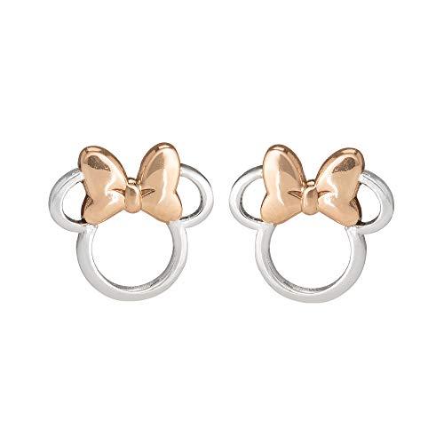 Minnie Mouse Pendientes de Plata y Oro Rosa E901880TL