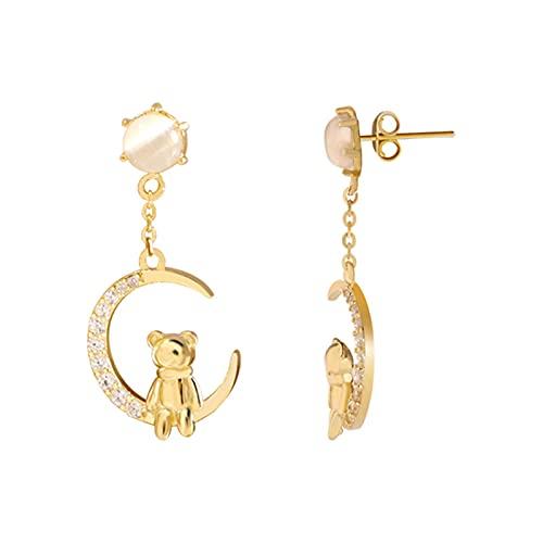 FPOJAFVN S925 Silver Dobling Moon Bear Pendientes Fashion Galvanized Zircon Ear Nail para Mujer Joyería Moda Y Regalo De Fiesta De San Valentín,Oro