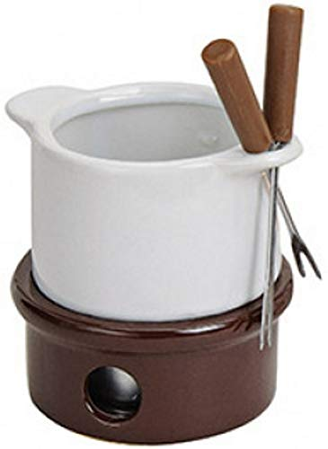 marion10020 Schokoladenfondue-Set Schoko-Fondue Schokofondue Schokoladen-Fondue, für 2 Personen, ca. 11 x 10 cm, aus Keramik, mit 2 Fondue-Gabeln