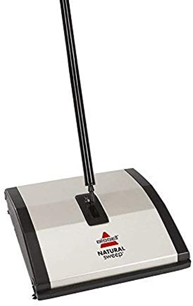 Bissell Natural Sweep Carpet And Floor Sweeper With Dual Rotating System And 2 Corner Edge Brushes 92N0A Silver