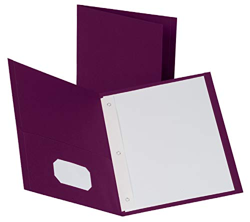 Oxford Two-Pocket Folders w/Fasteners, Burgundy, Letter Size, 25 per Box (57757)