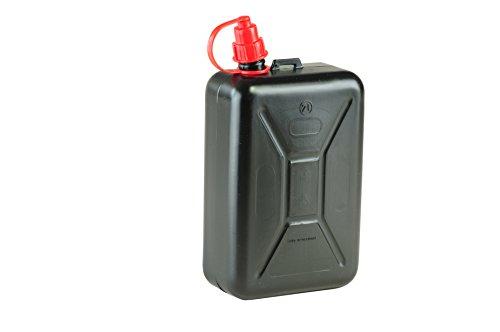 hünersdorff Kraftstoff-Kanister STANDARD 2l, Ersatzkanister für Motorräder, integrierte Auslauftülle, HD-PE, made in Germany, TÜV-geprüfter Produktion, schwarz